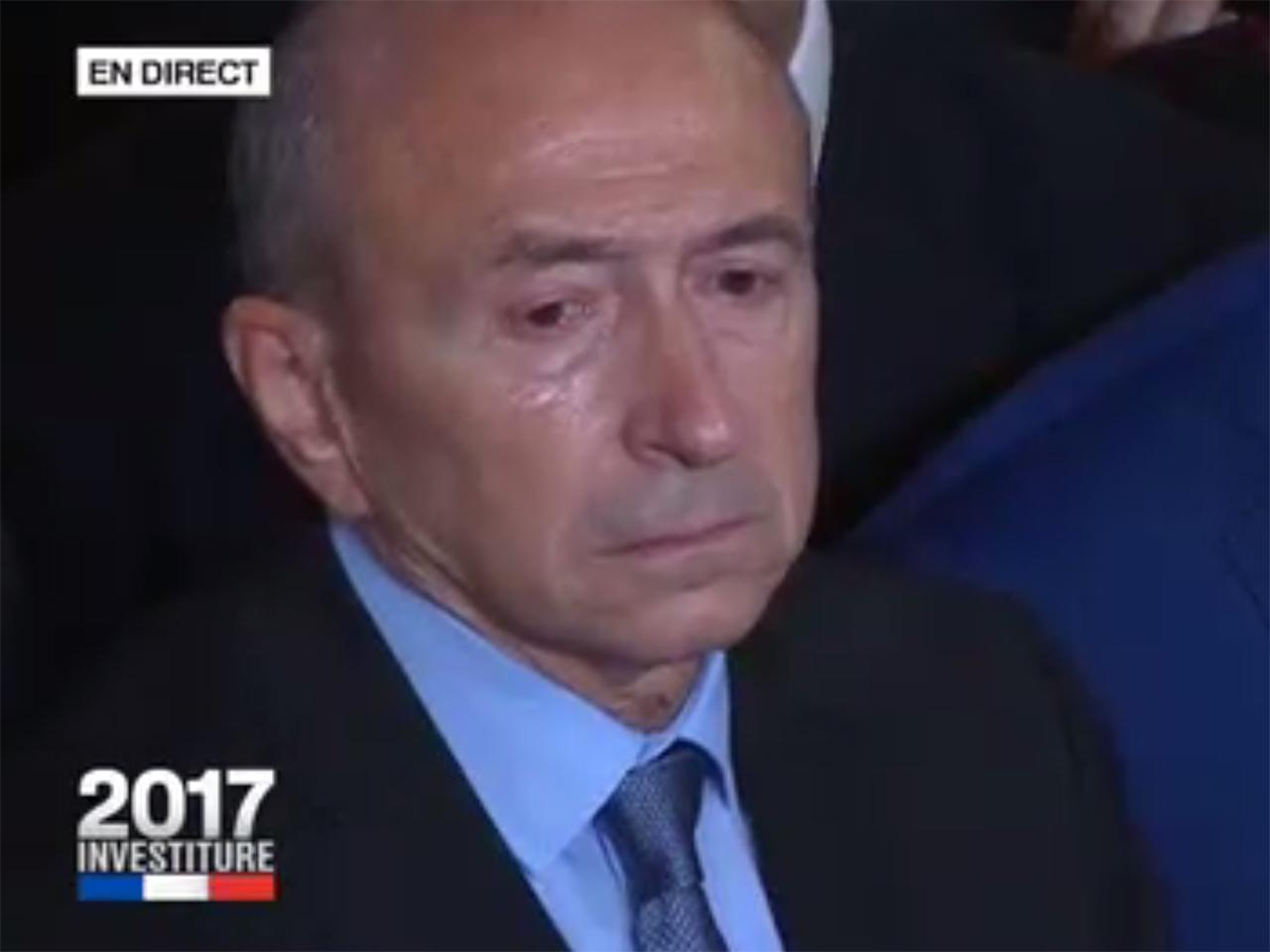 VIDÉO. Investiture d'Emmanuel Macron: Gérard Collomb ému aux larmes