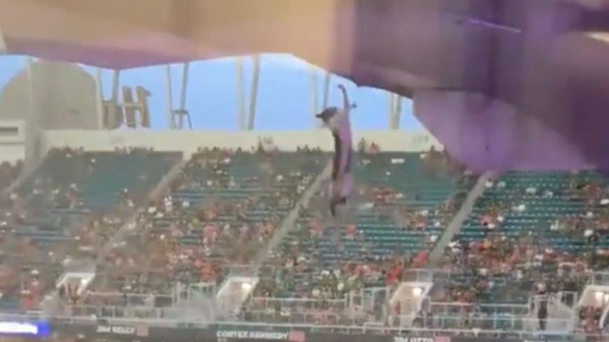 Un chat tombe du toit d'un stade avant d'être sauvé par des supporters ! (vidéo)